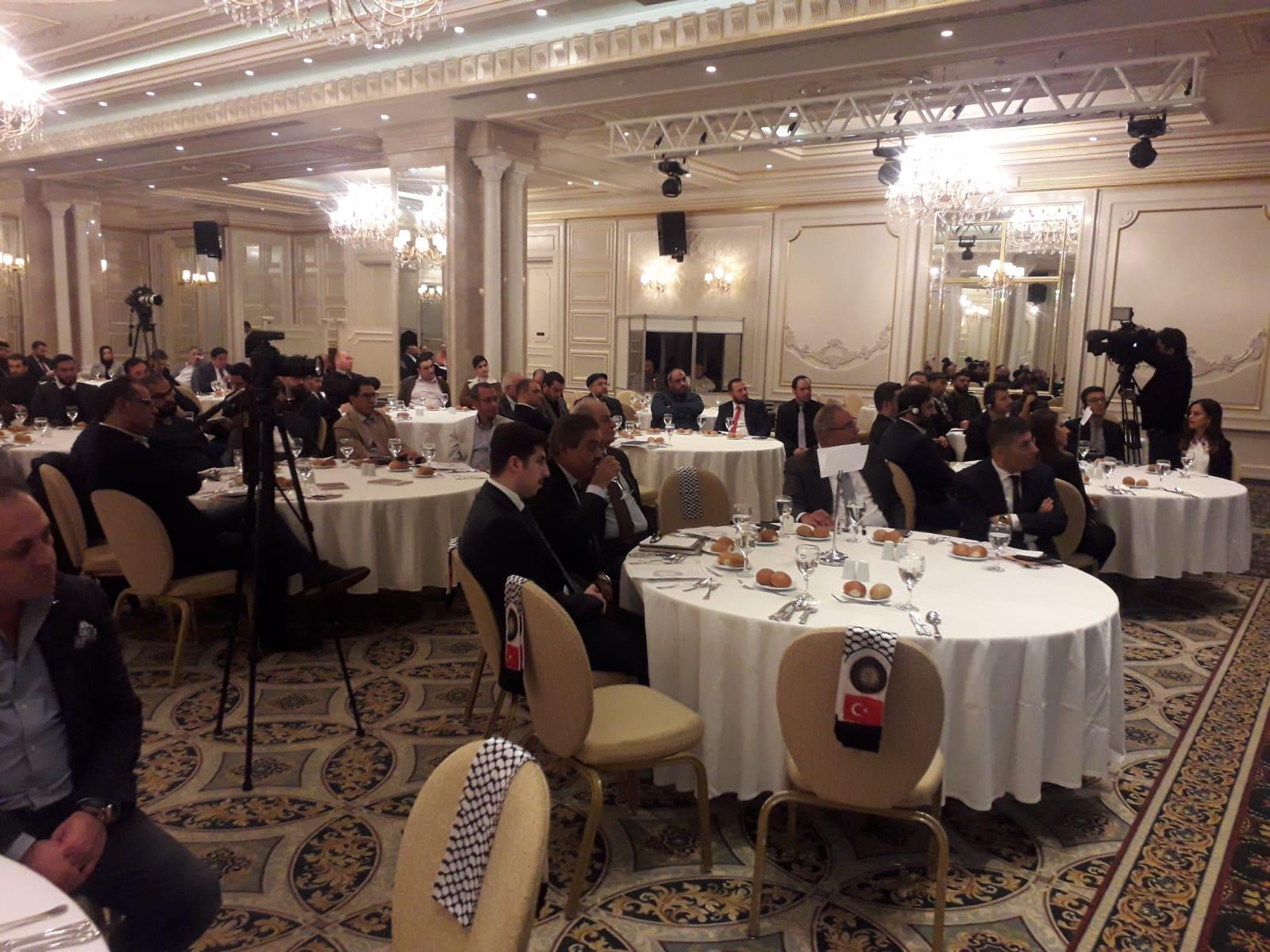 ورحب رئيس الإتحاد مازن الحساسنة في كلمته بالحضور والمشاركين من رجال الأعمال الفلسطينيين القدماء والجدد المقيمين في إسطنبول.